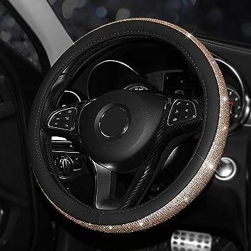 UR URLIFEHALL Leather Steering Wheel Cover Crystal Bling Bling Rhinestones Non-slip Women Steering wheel Protector Available Car Steering Wheel Cover Black