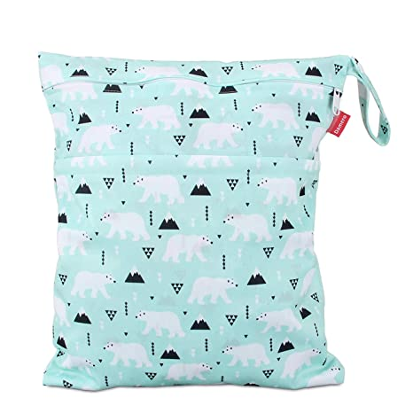Travel Wet and Dry Bag with Handle for Cloth Diaper Damero Cloth Diaper Wet Dry Bags Pumping Parts Reusable and Water-resistant Swimsuit and More Small,Bear Clothes