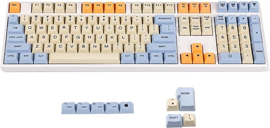 YMDK teclado con 108 teclas, color azul, beige, naranja, grosor PBT, perfil OEM estándar, 104 TKL y 60 % MX 108 add 4 ISO keys