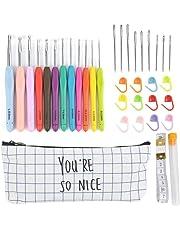 12pcs Crochet Hooks Set Kit de agujas de tejer Agujas más largas para cualquier patrones Organizador cremallera caso con 12pcs 2 mm a 8 mm Soft Grip Crochets y accesorios completos