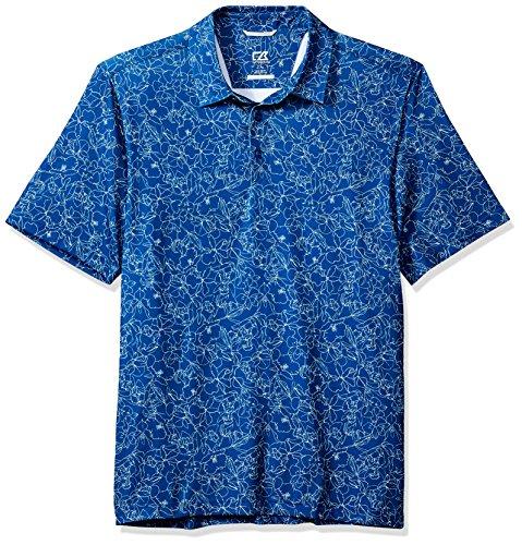 Cutter & Buck Men's Moisture Wicking Drytec UPF 50+ Print Jersey Polo Shirt, Nautical Serene, Large