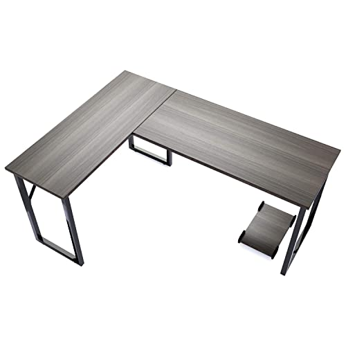 Modern L-Shaped Desk – TUSY Computer Corner Desk Gaming Office PC Table, Sturdy Simple Industrial Style Home Office Writing Workstation Steel