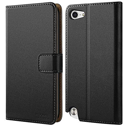 HOOMIL Case Compatible with iPod Touch 6/iPod Touch 5, Premium Leather Flip Wallet Case for Apple iPod Touch 6th/5th Generation Cover (Black)