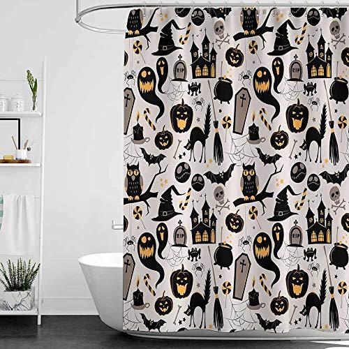 SKDSArts Shower Curtains Navy and Grey Vintage Halloween,Halloween Cartoon Jack o Lantern Tombstone Skulls and Bones,Light Grey Multicolor,W60 x L72,Shower Curtain for Men -