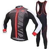 Skysper Moda Set Completo Abbigliamento Ciclismo da Uomo Maglia con Lunghe Maniche Tuta + Pantaloni Lunghi di Ciclismo Ciclismo Jerseys per Uomo