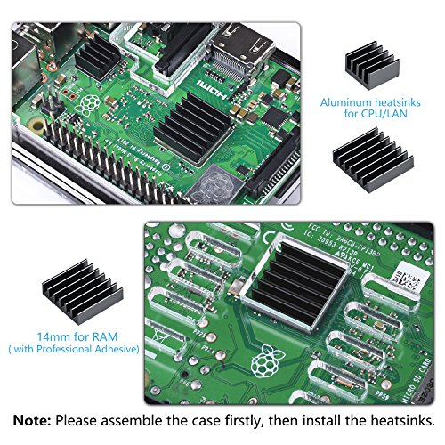 Smraza Raspberry Pi 3 B+ Case with Fan + Heatsinks + 2.5A Power Supply w/On Off Switch for Pi 3B+ Case by Smraza (Image #2)