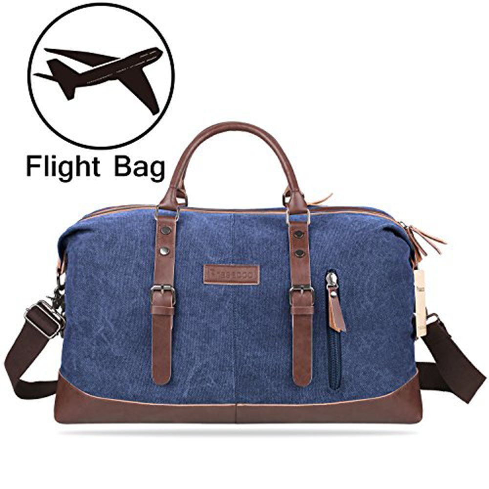 PRASACCO Duffel Bag 45L Canvas Weekender Bag Unisex Gym Bag Carry on Travel Tote for Women Men - Blue