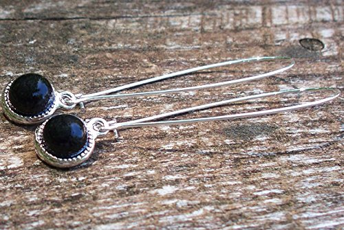 Recycled Antique Black Depression Glass Long Drop Charm Earrings