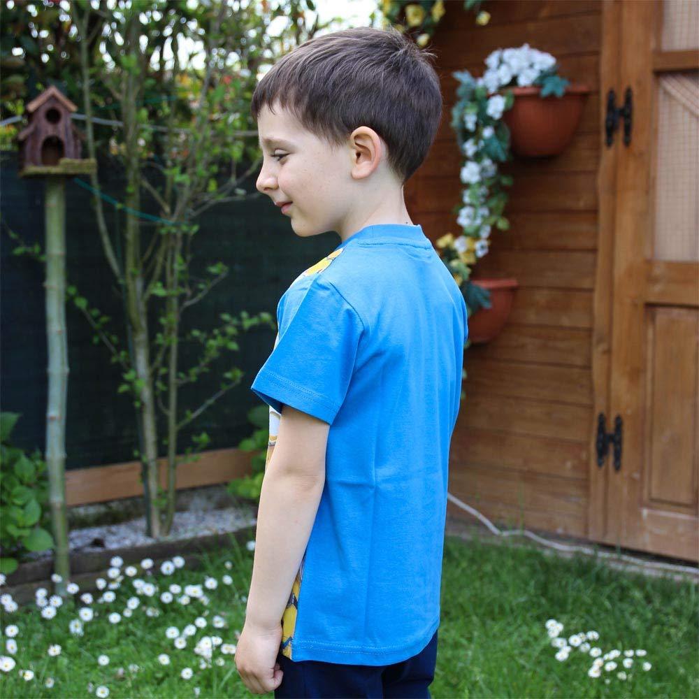 6 anni 116 cm Maglietta maglia t-shirt da bambino e bambina 6 anni minions gang manica blu in cotone con licenza Universal.
