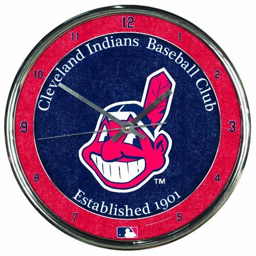 MLB Cleveland Indians Chrome Clock, 12