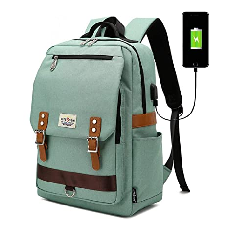 0e1a672aef80 Unisex Vintage Backpack, College Bag Fits up to 15.6'' Laptop, Fashion  Casual Rucksack Waterproof Daypacks for School Travel with USB Charging  (Green)