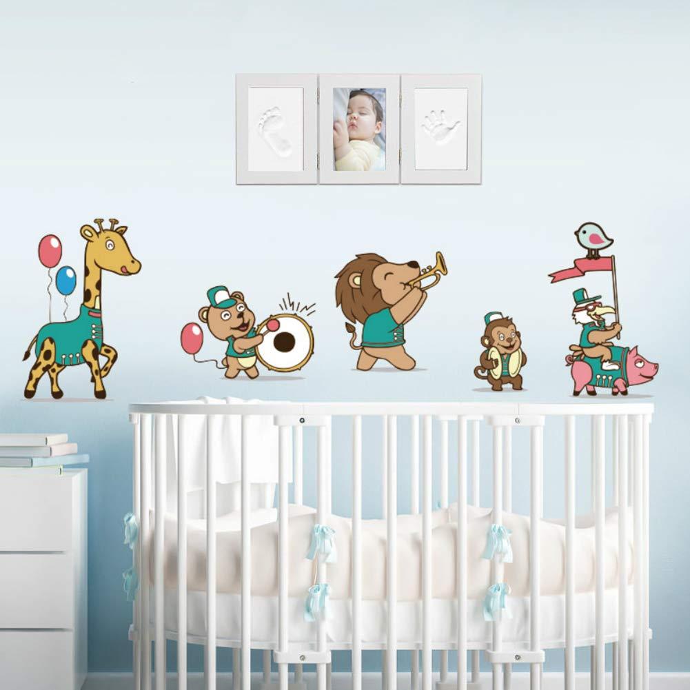Regalo Recuerdo Perfecto para Baby Shower Kit de Marco Para Manos y Huellas 3D de Beb/é Marco Triple de Madera para Fotos