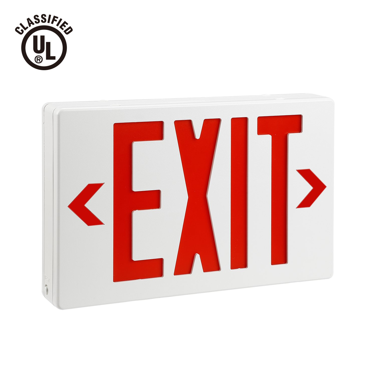 AC 120V/277V Single/Double Face LED Exit Sign Red Letter UL-Classified with Battery Backup Ceiling/Side/Back Mounting LED Indicator Exit Light for Residential and Commercial - EL04