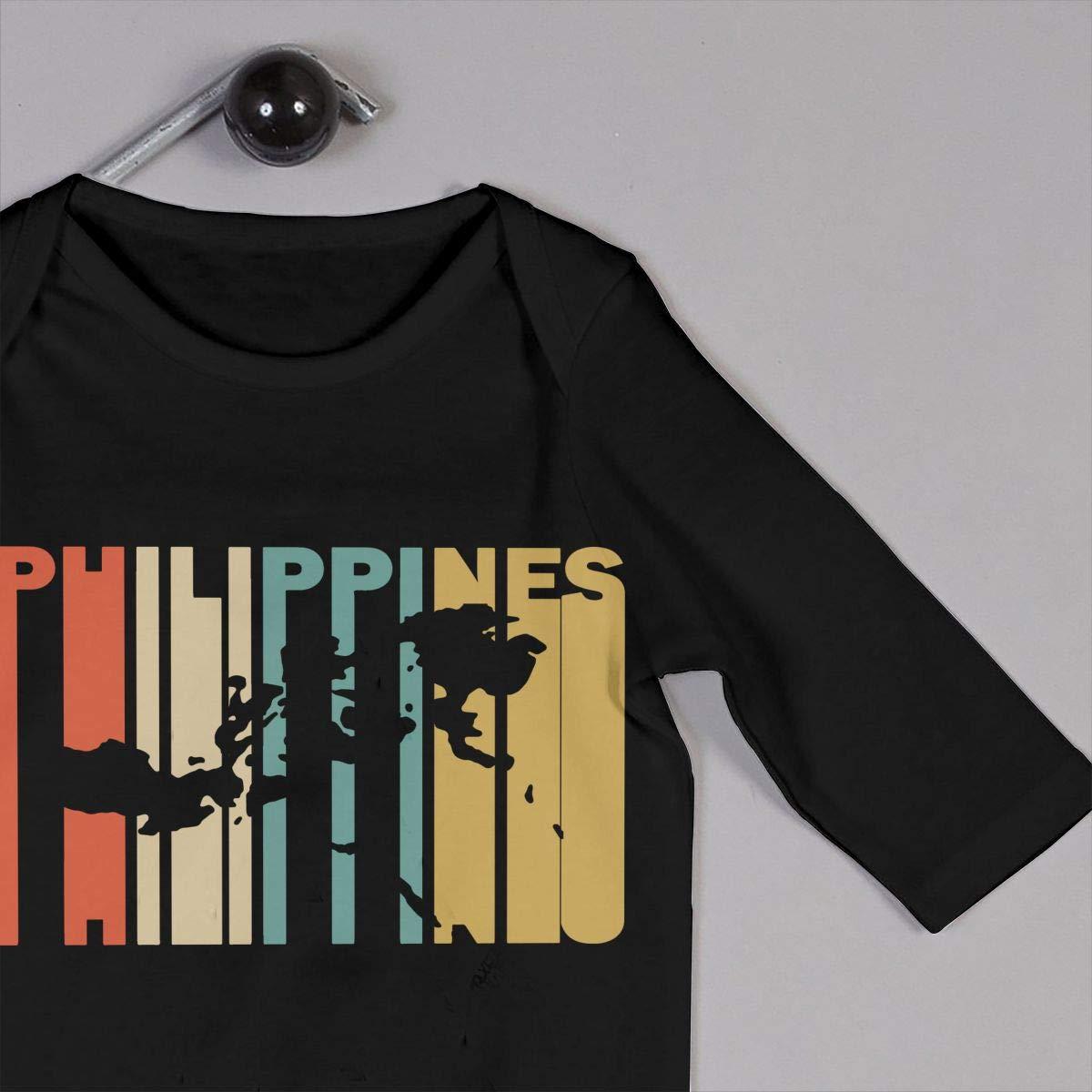 Long Sleeve Cotton Bodysuit for Unisex Baby Fashion Retro Style The Philippines Silhouette Crawler Black