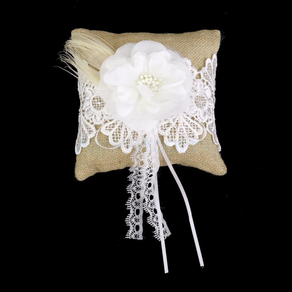 Burlap Hessian & Lace Rustic Country Wedding Ring Pillow Cushion Bearer 6''
