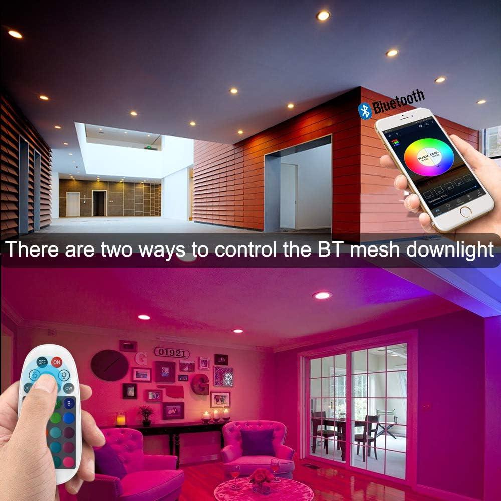 350LM,wifi Bluetooth APPControl,pannello,Telecomando,Dimmerabile Bianco Freddo Luce Caldo RGB+CCT,funziona con Alexa e Google Assistant 4 LED Incasso Rotonda Downlight Intelligente 5W 220-240V