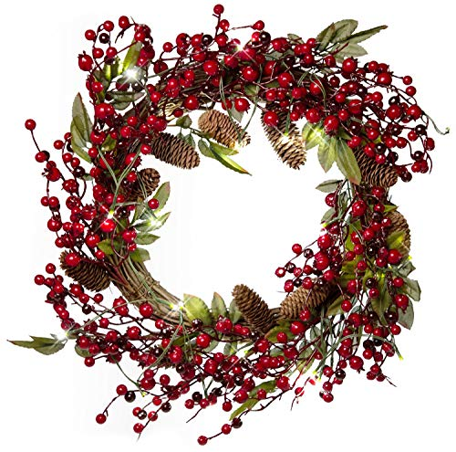 Led Wreaths Christmas - 22 Inch Light-Up Christmas Wreath with Pinecones Leaves & Red Cranberries, Plug-in Operated LED Lights