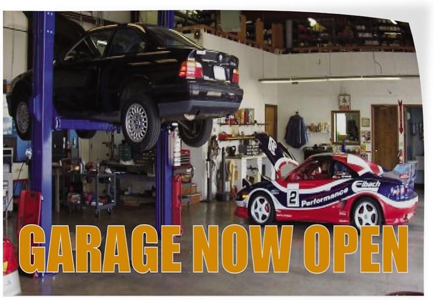 52inx34in Decal Sticker Multiple Sizes Garage Now Open #2 Business Garage Now Open Outdoor Store Sign Orange Set of 2