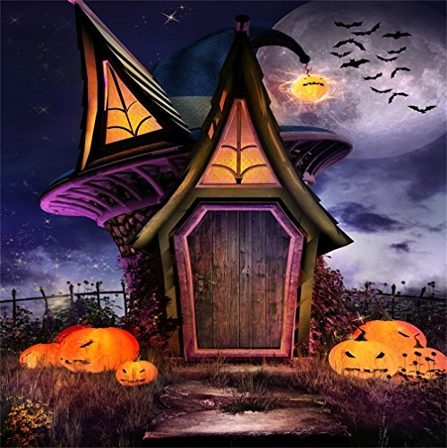 (CSFOTO 5x5ft Background for Happy Halloween Party Log Cabin Pumpkin Lantern Photography Backdrop Horror Night Danger Bat Full Moon Ghost Photo Studio Props Portrait)