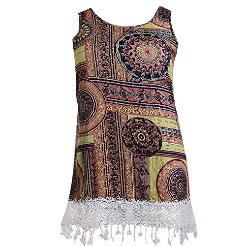 Olive Swirls - TnaIolral Fashion Womens Plus Size Casual O-Neck Ethnic Print Lace Tank Dress Mini Dress Yellow