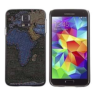 QCASE / Samsung Galaxy S5 SM-G900 / áfrica continentes mapa europa península árabe / Delgado Negro Plástico caso cubierta Shell Armor Funda Case Cover