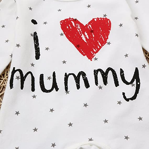 Amazon.com: TiTCool I Love Mummy Letter Baby Boys Girls QUTE Long ...