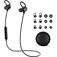 Wireless Bluetooth Headphones, Mpow Enchanter Wireless Bluetooth 4.1 Sports Headphones Earbuds Earphones Headset for iPhone 7 Plus 6 6s SE and Other Smart Phones 3 Pairs Earbuds and Bag included-Black