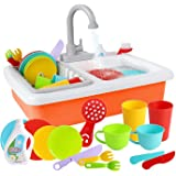 WISHTIME Kitchen Sink Toys Pretend Play - Dishwasher Playing Toy with Running Water Wash Up Kitchen Toys Pretend Role Play To