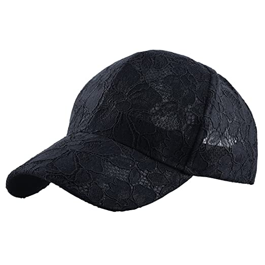KISSBAOBEI Womens Lace Baseball Caps (Black) at Amazon Women s ... a95a372d7d0
