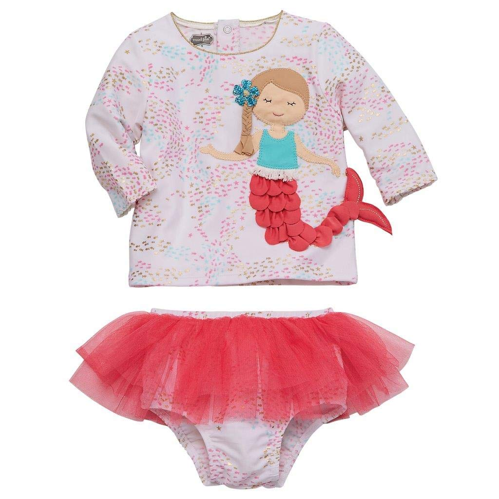 Mud Pie Baby Girl's Mermaid Rashguard Set (Infant/Toddler) Multi 5T (Toddler) by Mud Pie