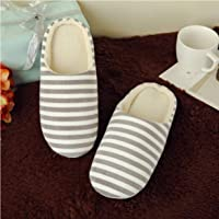 Striped Indoor Cotton Slippers Anti-Slip Winter House Shoes Soft Bottom