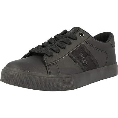 Polo Ralph Lauren Geoff II Negro Tumbled Júnior Escuela Zapatos ...