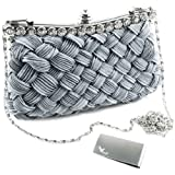 Missy K Interwoven Clutch Purse, with 2 Detachable Straps – Grey + kilofly Money Clip, Bags Central