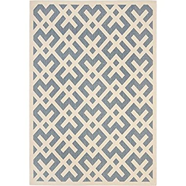 Safavieh Courtyard Collection CY6915-233 Blue and Bone Indoor/ Outdoor Area Rug, 8 feet by 11 feet (8' x 11')
