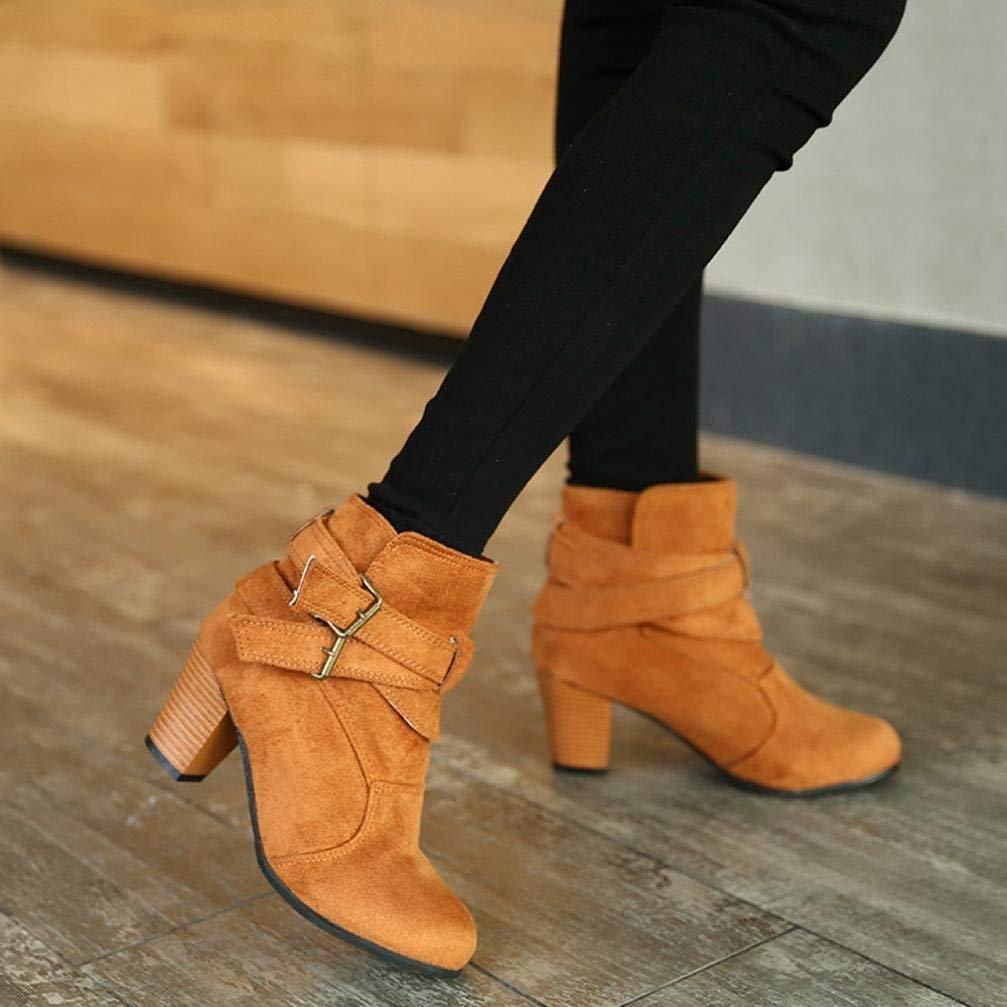 Fuxitoggo Damen Heel High Heel Damen Stiefeletten, Damen Schnalle Plateauschuhe Slope Martin Stiefel (Farbe   Gelb) b55c77