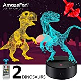 Dinosaur Night Light for Kids-3D Dinosaur Lamp 7 Colors Optical Illusion Touch & Remote Control with 2 Acrylic Flats Best Birthday New Year Gifts for Boys Girls Kids Baby (2 Dinosaurs)