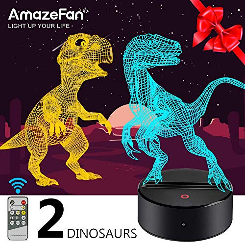 Dinosaur Night Light for Kids-3D Dinosaur Lamp 7 Colors Optical Illusion Touch & Remote Control with 2 Acrylic Flats Best Birthday New Year Gifts for Boys Girls Kids Baby (2 Dinosaurs) -