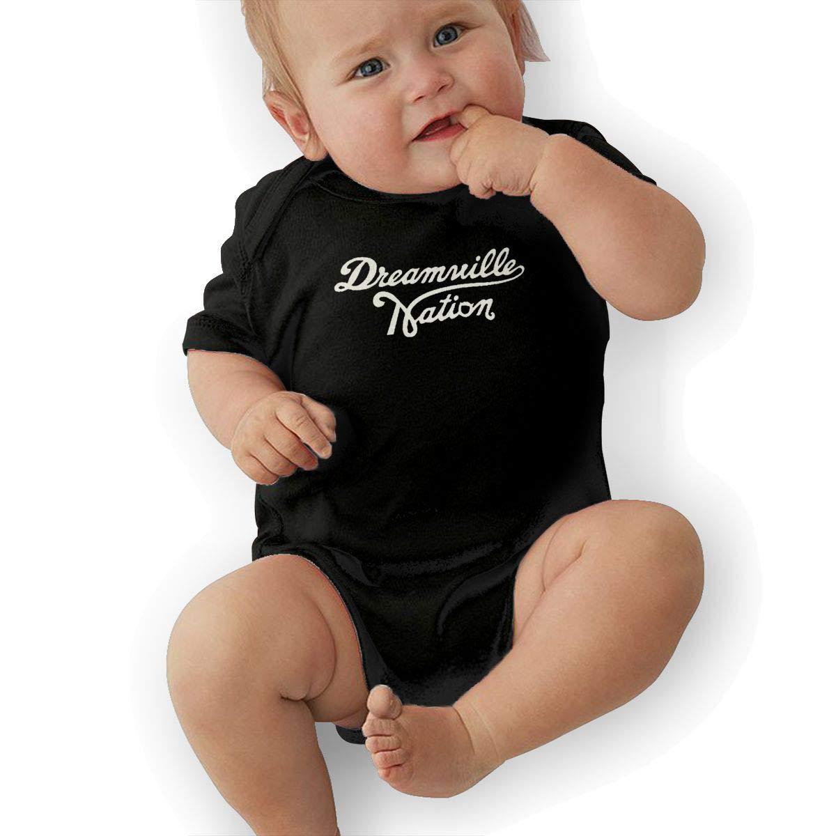 Custom Dreamville Records Logo Newborn Infant Toddler Baby Girls Boys Bodysuit Short Sleeve 0-24 MonthsBlack