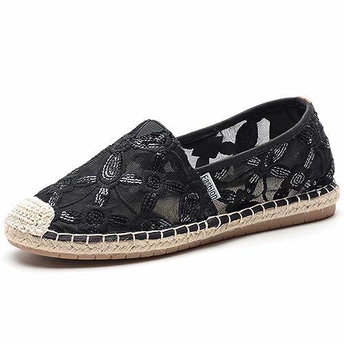 LANCROP Women s Espadrilles Casual Flats - Comfortable Lace Sequin Slip On  Loafers Shoes Canvas Alpargatas 4.5 548db936c0b8
