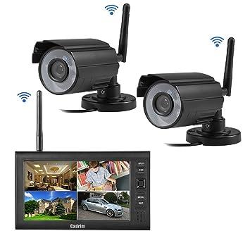 Cadrim Cámara de Vigilancia Inalámbrica Wifi con Visión Nocturna Detección de Movimiento con Alarma Simultánea Control