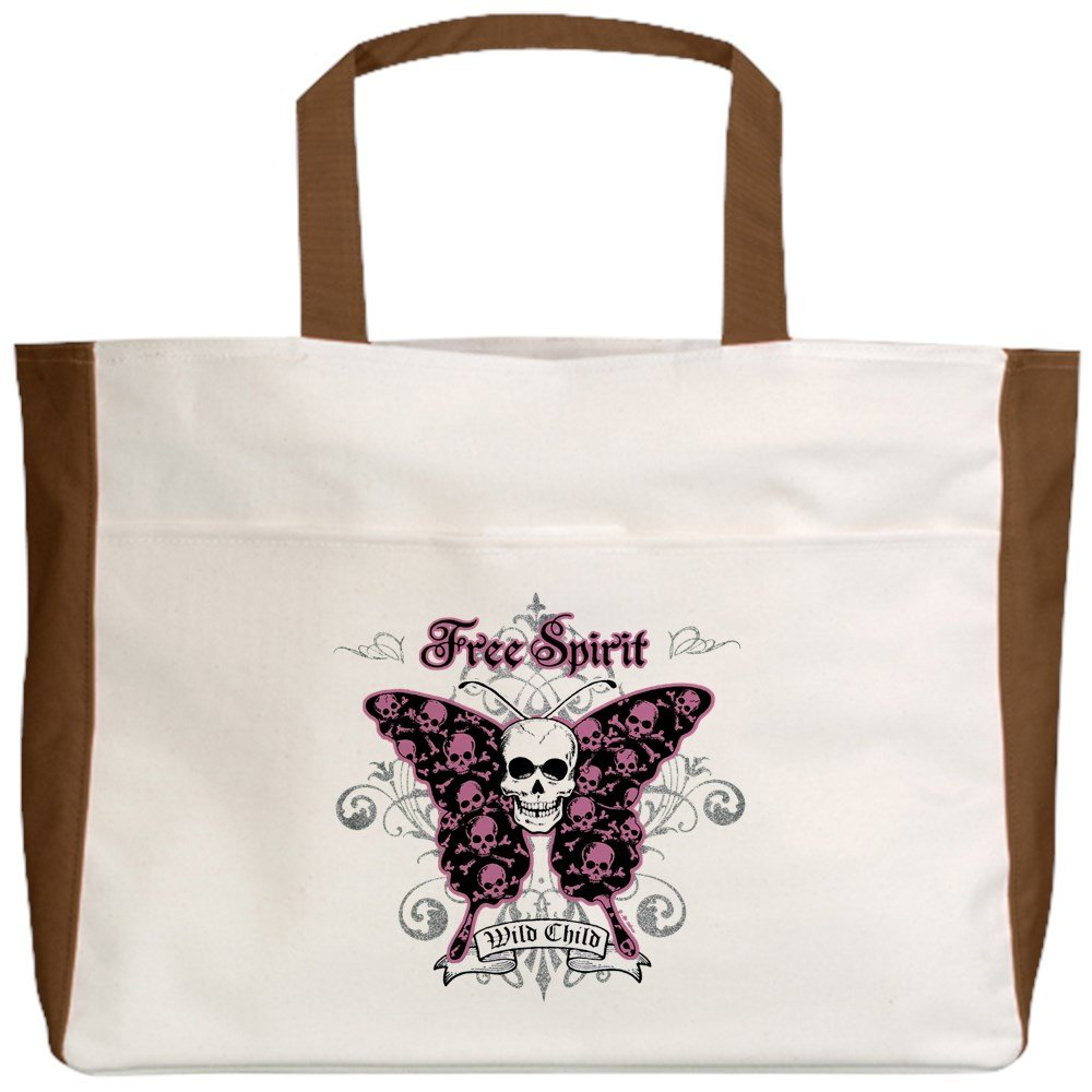 Royal Lion Beach Tote (2-Sided) Butterfly Skull Free Spirit Wild Child - Mocha