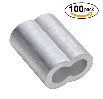 Amazon.com: PES 100 Packs Cable Crimps Wire Ferrules Rope 1/8 ...