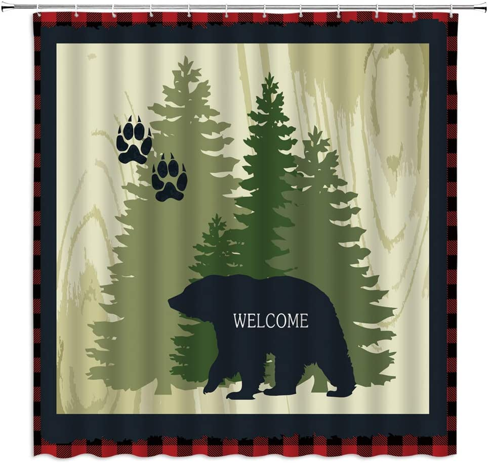 Wooden Board Bathroom Decor Sets 69 W by 70 L Country Wild Animals and Natural Mountains Forest Scenery Farmhouse Rustic Cabin Wildlife Shower Curtain Black Bear Shower Curtain