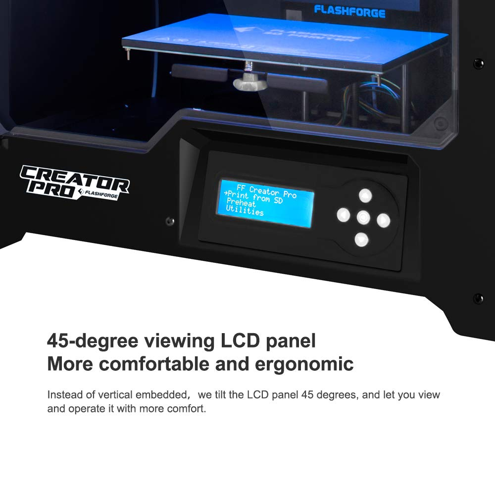 Flashforge 10745 Impresora 3D Creator Pro Impresora Doble Extrusora con Optimizado Plate Construir y Mejorada Holder Spool