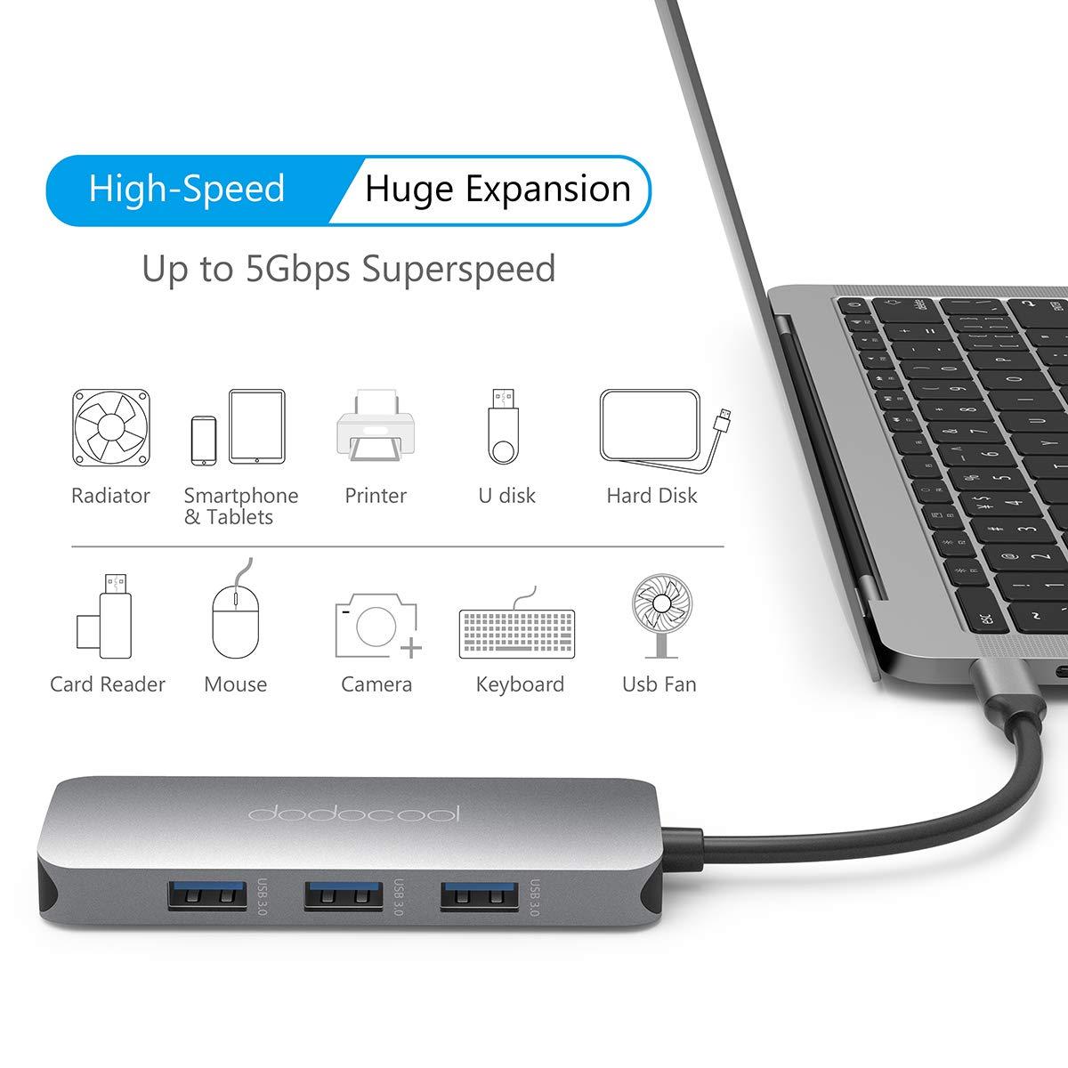 Oferta Hub USB C dodocool 7 en 1 para Macbook o Chromebook por 22 euros (Cupón Descuento) 1 hub usb c hootoo