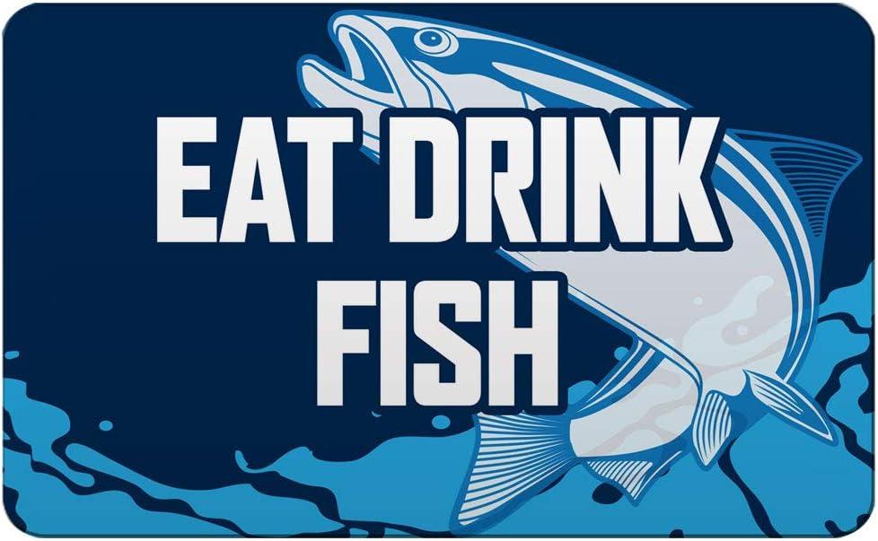 Makoroni - EAT DRINK FISH Fishing Des#2 Refrigerator Wall Magnet 2.75x3.5 inc