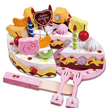 Excellent Onshine Wooden Mini Birthday Cake Cutting Set Pretend Food Kitchen Personalised Birthday Cards Vishlily Jamesorg