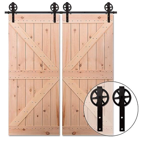 9.6FT/292cm Puerta de Granero Corredera de Madera Herraje para Puertas Corredizas Interiores para puerta doble: Amazon.es: Bricolaje y herramientas
