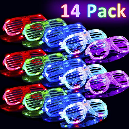 ve Party 14 Pack Flashing Glasses Glow LED Light Up Shades Show Toy for Kids Men Women Gift,Glow in The Dark Glasses Neon Party Supplies Party Favors Shutter Shades Rave Party Even ()