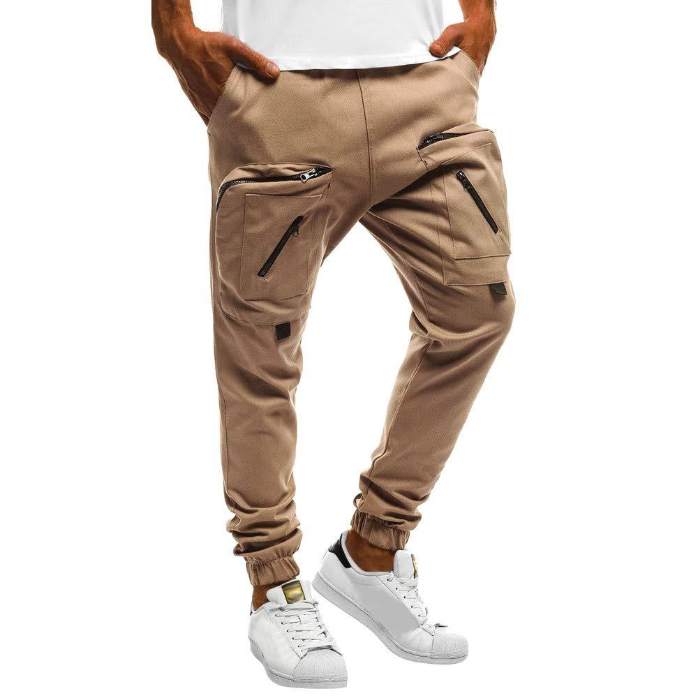 FANOUD Men's Autumn and Winter Men Sweatpants Slacks Casual Elastic Sport Zipper, Baggy Pockets Trousers Pencil Pant